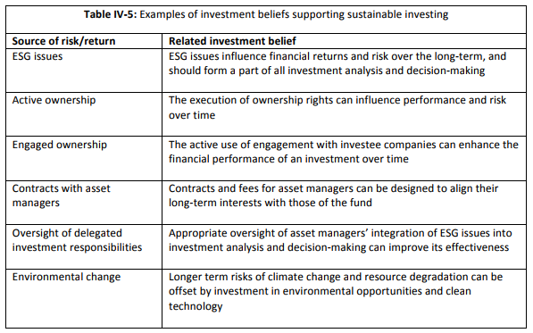 Examples of investment beliefs supporting sustainable investing