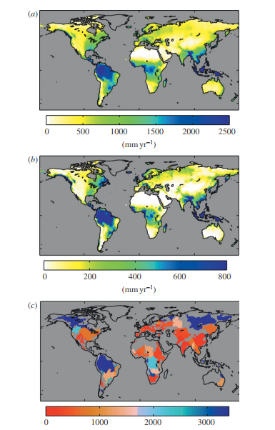 (a) Global mean annual precipitation, (b) mean annual surface run-off and (c) river basin WSI for the baseline period (1961–1990).