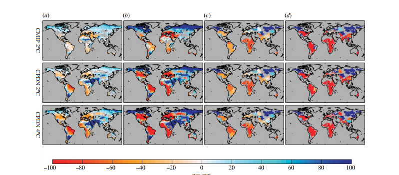 (a) Spatial pattern of ensemble-average changes in mean annual run-off ( DMAR), (b) model consensus on direction of change in run-off, (c) ensemble-average change in water stress ( DWSI) and (d) model consensus on the direction of change in water stress for a 2?C and 4?C rise in temperature and UNPOP60 population scenario compared with the baseline period. For the model consensus, red and therefore negative values represent the percentage of models showing a negative change in the respective parameter and for blue, positive values, represent the percentage of models showing a positive change. For DMAR and DWSI, colour classification spans from ?100% to greater than 100% (this means that high positive values of DMAR and DWSI are effectively filtered out in these plots), whereas for consensus, colour classification spans from ?100% to 100%. For plots of DMAR and consensus for the direction of change in run-off, grey land areas represent where DMAR is less than natural variability. For DWSI and consensus for direction of change in water stress, only 112 major river basins are plotted (Greenland has been excluded from the analysis)